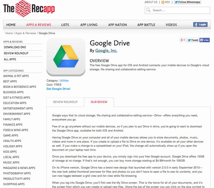 Google Drive review screen shot