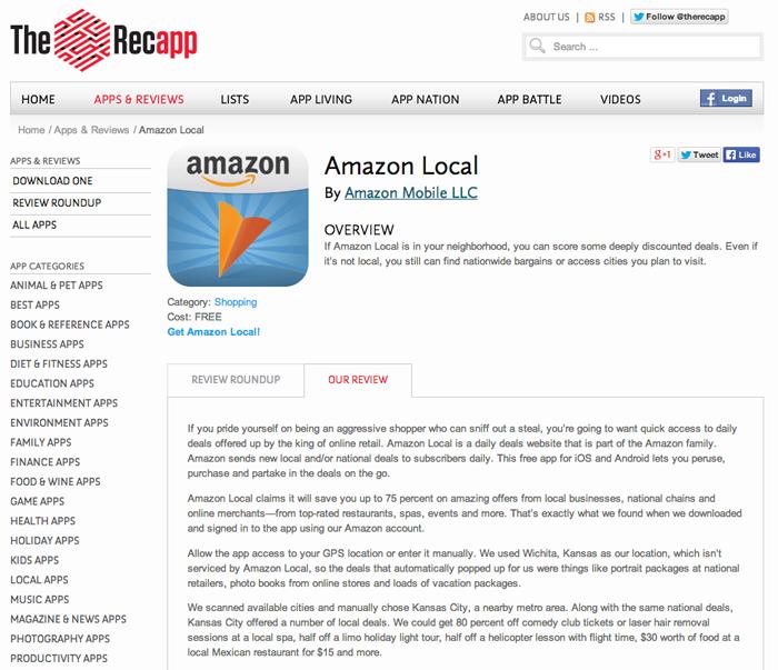 Recapp_Amazon Local review screen shot