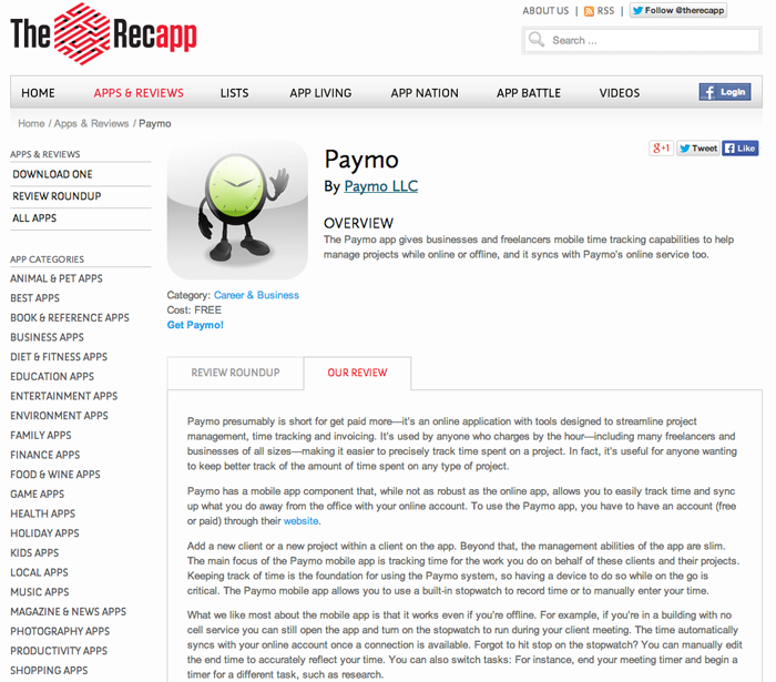 Recapp_Paymo review screen shot