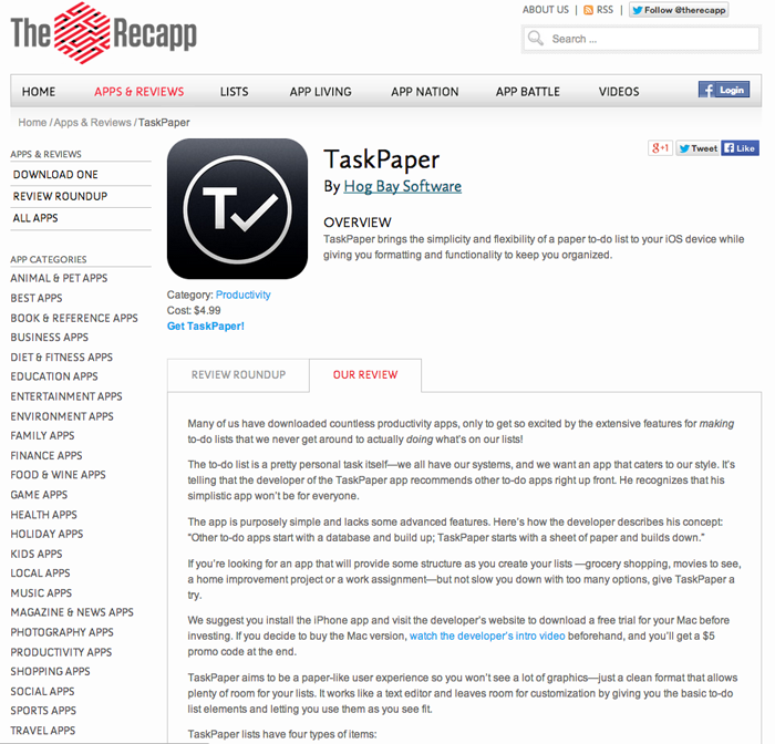 Recapp_Task Paper review screen shot