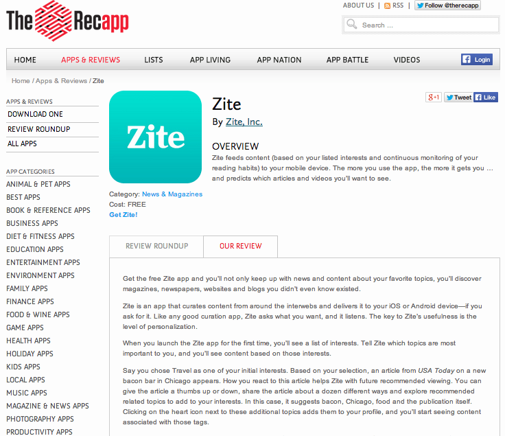 Recapp_Zite review