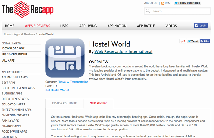 Recapp_hostel world Screen Shot