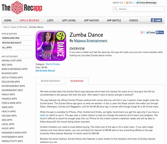 Recapp_zumba review screen shot