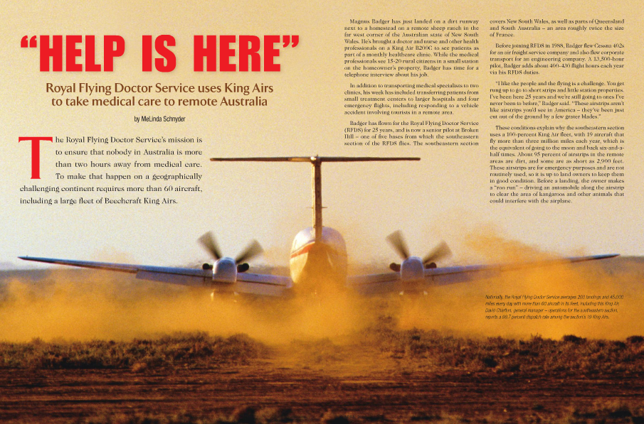 King Air magazine feature on Royal Flying Doctor Service in Australia