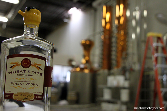 A wax dipped bottle at Wheat State Distilling in Wichita, Kansas. These are school neutral bottles, but doesn't that look like WuShock's head (Wichita State mascot)?
