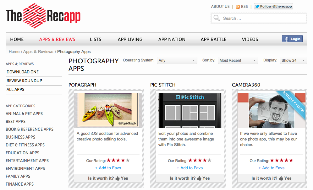 Writing :: Review of Socialcam for The Recapp |