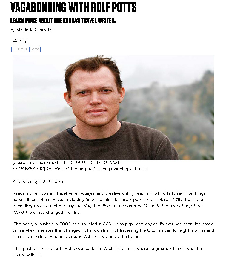 Travel writing :: Q&A with Rolf Potts for AAA World |